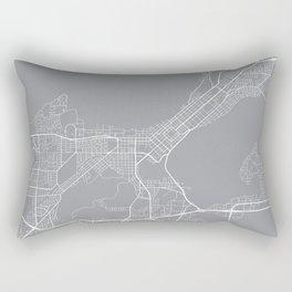 Madison Map, Wisconsin USA - Pewter Rectangular Pillow