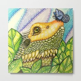 Irene's Bearded Dragon Square Metal Print