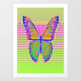 Fantasy Monarch Type Butterfly In Pink, Chartreuse & Indigo-Blue optical Art  Abstract Art Print