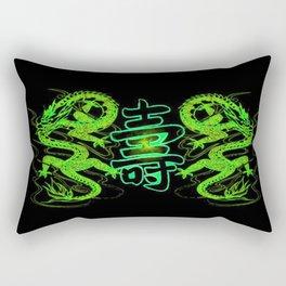 Asian Long Life Green Rectangular Pillow