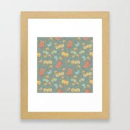 scattered autumn pumpkins on winter sky blue Framed Art Print