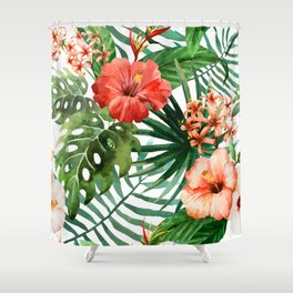Hibiscus and Palm Leaf Pattern Shower Curtain
