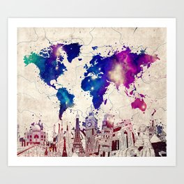 world map city skyline galaxy 2 Art Print