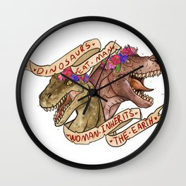 Dinosaur Eat Man. Woman Inherits the Earth Wall Clock