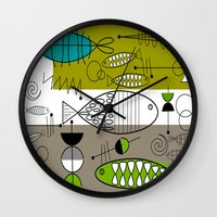 mid century modern Wall Clocks featuring Mid-Century Modern Fish Art by Kippygirl