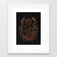 military Framed Art Prints featuring Military skull by barmalisiRTB