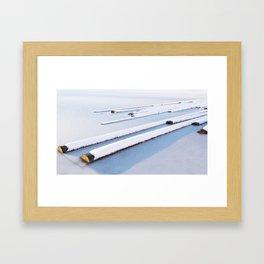Snow frozen lake, snow covered logs, frozen, Lake, landscape Framed Art Print