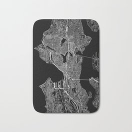 Seattle Black Map Bath Mat