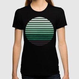Deep Green Mid Century Modern Minimalist Scandinavian Colorful Stripes Geometric Pattern Round Circl T-shirt