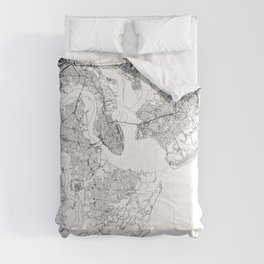 Charleston White Map Comforters