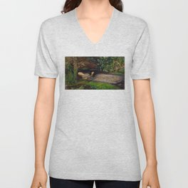 Ophelia by John Everett Millais (1851) Unisex V-Neck