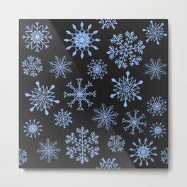 Snowflakes (blue on brown) Metal Print