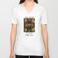 buffy the vampire slayer V-neck T-shirts featuring Vampyr Book -- Buffy the Vampire Slayer by BovaArt