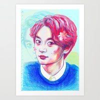shinee Art Prints featuring SHINee Minho by sophillustration