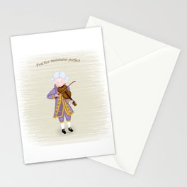 Young Mozart Playing Violin: Practice Maintains Perfect Stationery Cards