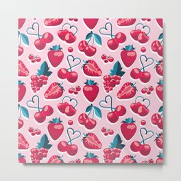 Cherries, berries and strawberries // pink background red fruits Metal Print