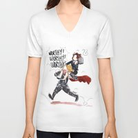 peggy carter V-neck T-shirts featuring PEGGY CARTER IS WORTHY. by Maryne.