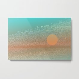 Moonscape: An Orange Circle on a Horizontal Path Floats in Front of a Broken Textural Background Metal Print