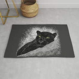 Black panther on a branch - Grey Rug