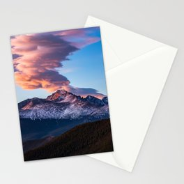 Fire on the Mountain - Sunrise Illuminates Cloud Over Longs Peak in Colorado Stationery Cards