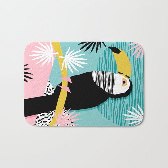 Loopy - wacka designs abstract bird toucan tropical memphis throwback retro neon 1980s style pop art Bath Mat