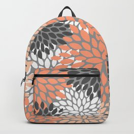 Floral Pattern, Coral, Gray, White Backpack