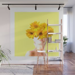 Flower painted lady art Wall Mural