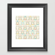 Bunnies and Hearts Framed Art Print
