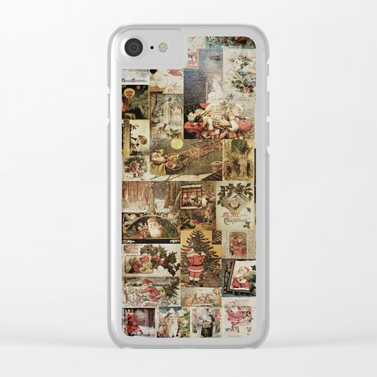 Merry Christmas- Santa angels & friends- collage Clear iPhone Case