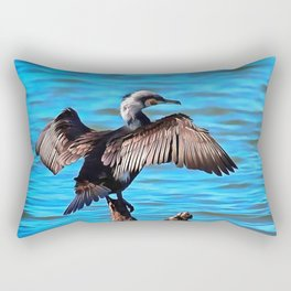 Cormorant Wings on Blue Water Rectangular Pillow