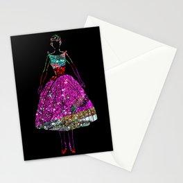 Audrey Pink Glitter Dress Stationery Cards