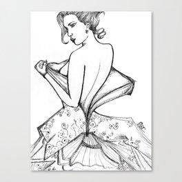 Undressing Lady Canvas Print