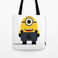 minion Tote Bags featuring Minion by Ian Zandi