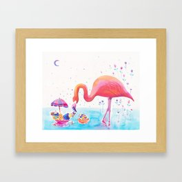 Flamingo Print - Ice-cream Party Framed Art Print