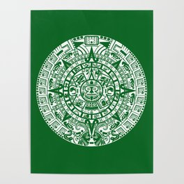 Mayan Calendar // Forest Green Poster