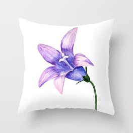 Watercolor bluebell Throw Pillow