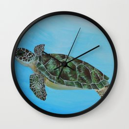 Green Sea Turtle Painting, Ocean Paintings, Sea Life Painting, Original Acrylic Painting on Canvas Wall Clock