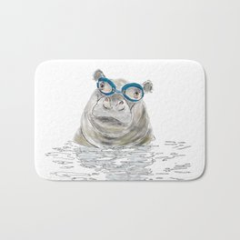 Hippo with swimming goggles Bath Mat