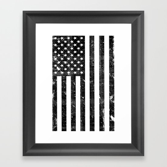 Dirty Vintage Black And White American Flag Framed Art