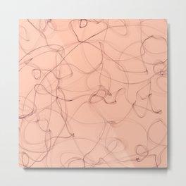 Milky cocoa smoke lines minimalist design Metal Print