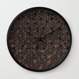Copper Gold and Black Hexagons Geometric Pattern Wall Clock