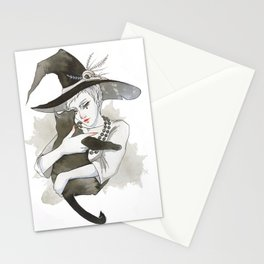 the witch with the cat Stationery Cards