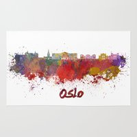 oslo Area & Throw Rugs featuring Oslo skyline in watercolor by Paulrommer