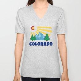 Native Colorado Gifts CO State Flag Sunrise Sunburst Mountains Unisex V-Neck