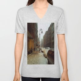 Soho snowing. Winter in New York Unisex V-Neck