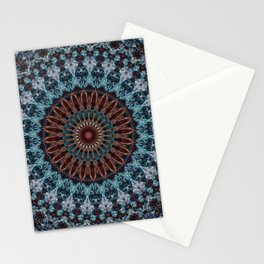 Mandala in light blue and brown tones Stationery Cards