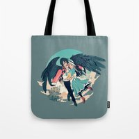 calcifer Tote Bags featuring Fly Away With Me by Nikittysan