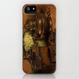 Vintage coffee grinder, pot an beans iPhone Case