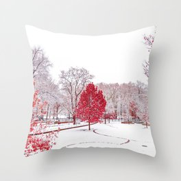 Red Winter Leafs (Color) Throw Pillow