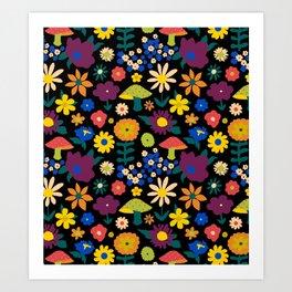 60's Country Mushroom Floral in Black Art Print